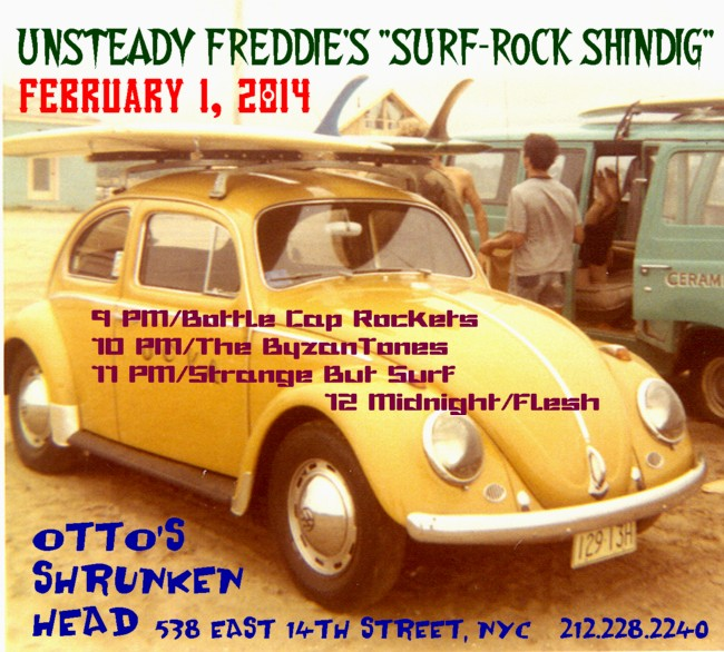 New Flyer for Unsteady Freddie's Surf-Rock Shindig—Saturday, 2/1